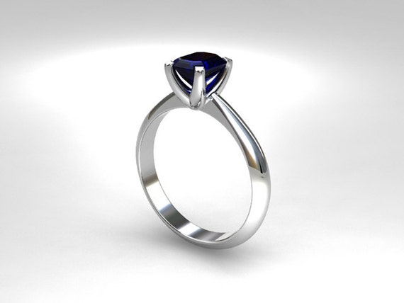 Blue sapphire ring, white gold, engagement ring, emerald cut, sapphire engagement, white gold ring, solitaire, crown setting, rose gold