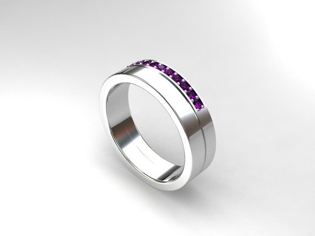 Amethyst ring white gold wedding band mens by ...