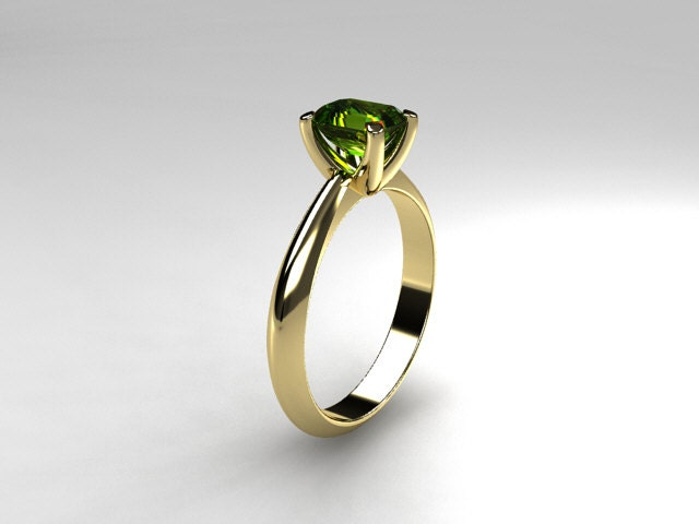 peridot ring yellow gold emerald cut engagement ring green peridot engagement - Emerald Wedding Ring