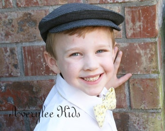 FLASH SALE Boys Newsboy Hat, Boys Cap, Gray Plaid Wool, Ring Bearer Hat, Grey Plaid Newsboy Hat