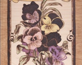 Colorized antique Pansy packet, woodburn hand made pyrography Purple, Yellow Pink