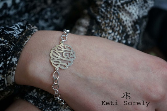 Designer Monogram Bracelet  - Initials Bracelet - Small to Large Size (Order Any Initials) - Sterling Silver