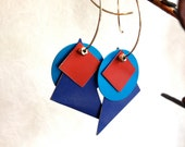 Aluminum Geometric Colorful Earrings with Silver