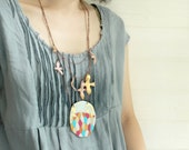 Polymer Clay bird necklace Colorful Mountain and bird necklace statement necklace Wearable Art 24K gold leaf  One of a kind