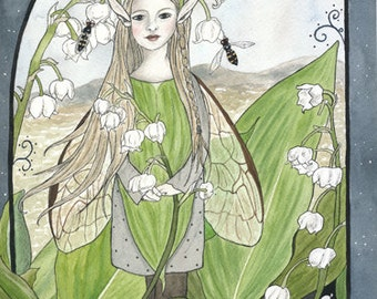 Lily-of-the-Valley Fairy - fairy/faerie art print (reproduction) by Snow Fairy Farm.  Matted size 5 x 7 inches.