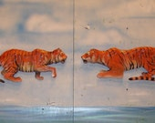 Chainsaw Carving Pair of 2 Tigers Carved Wall Mounts