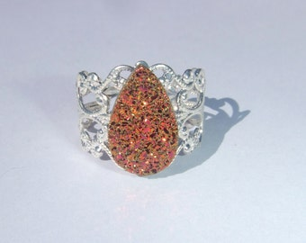 ON SALE! Silver Druzy Ring, Drusy Ring, Fire Druzy Ring, Filigree Druzy Ring, Orange Druzy Ring, Titanium Drusy ring