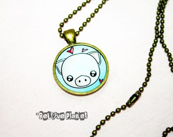 "Piggy 1"" Pendant Necklace - or 2 for 20 -  Kawaii Pig Cute Animal vegan - ReLove Plan.et"
