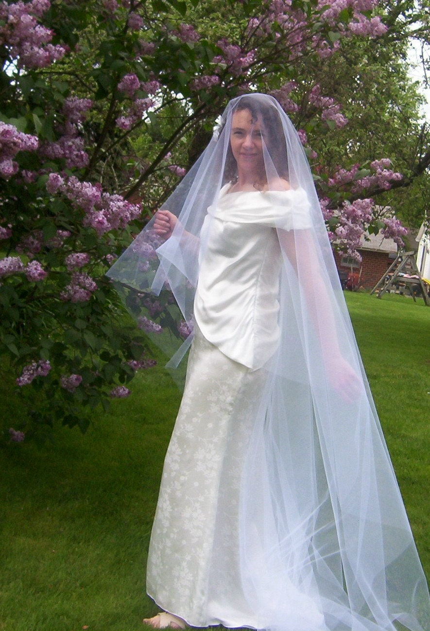 Drop Veil Royal Cathedral Mantilla Veil Cut Edge Lace Edge