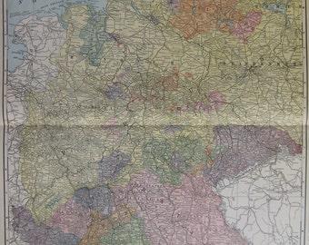 RARE Antique WEST GERMANY Map of Germany 1912 Vintage Map Rare Size Vintage 1900s Atlas Map  Plaindealing 1504