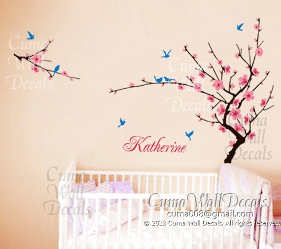 Nursery Wall Decal Baby Girl Name Wall Decals Flowers By Cuma  sc 1 st  Elitflat & Baby Girl Name Wall Decals - Elitflat
