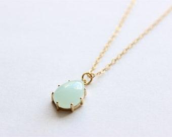 "Long Gold Necklace - Stone Necklace - Long Necklace - 22"" - Light Blue Teardrop Glass Stone Pendant on Matte Gold Chain Necklace"