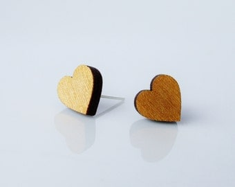 More Options Wooden Heart Stud Earrings