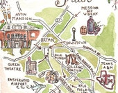 5x7-Custom Wedding Map-Hand Drawn Original Artwork-JLH Art Studio