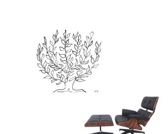 """Wall Art inspired by Henri Matisse """"La Platane"""" tree XXL vinyl wall decal for your livingroom and bedroom wall art decor  (ID: 111043)"""