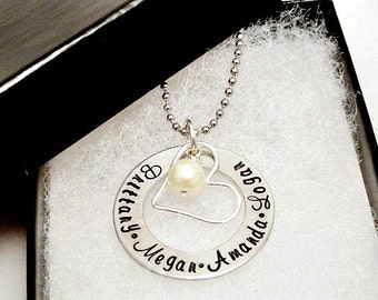 Personalized Necklace - Hand Stamped Jewelry - Heart Necklace - Silver