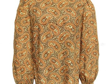 Vintage 1960s Blouse MOLLIE PARNIS Paisley Print Cotton Turtleneck Bishop Sleeves Morty Sussman