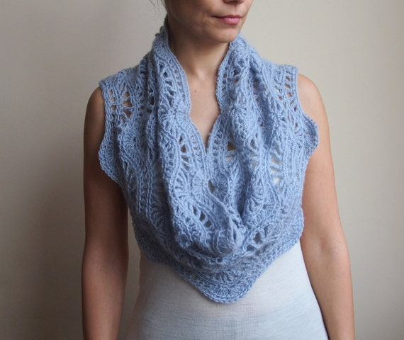 Chevron Lace Shawl Crochet Pattern : Crochet pattern lace ripple scarf chevron waves infinity