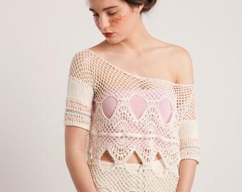 CUSTOM MADE Bohemian wedding dress,Hand crochet tunic dress,Festival dress,Open knit top,Boho chic dress,Lace top,Spring boho wedding