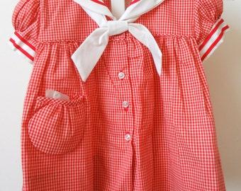 Vintage Girls Red Gingham  Sailor Dress- size 12 months-  New, never worn