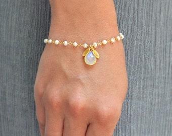 Personalized Rainbow Moonstone bracelet - freshwater pearl wire wrapped bracelet - bridesmaid bracelet - June Birthstone bracelet - initial