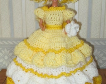 Crochet Victorian Doll Dress Lady In White and Yellow