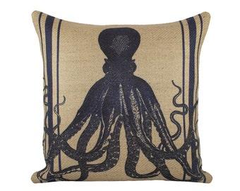 Navy Octopus Pillow, Nautical Burlap Cushion, Beige, Navy, Coastal Decor, Beach House