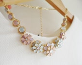 Pastel Color Jewel Flowers Pendents Spring/Summer Necklace / Anthropologie Necklace / Chunky Statement / Bib Statement / Jcrew Necklace