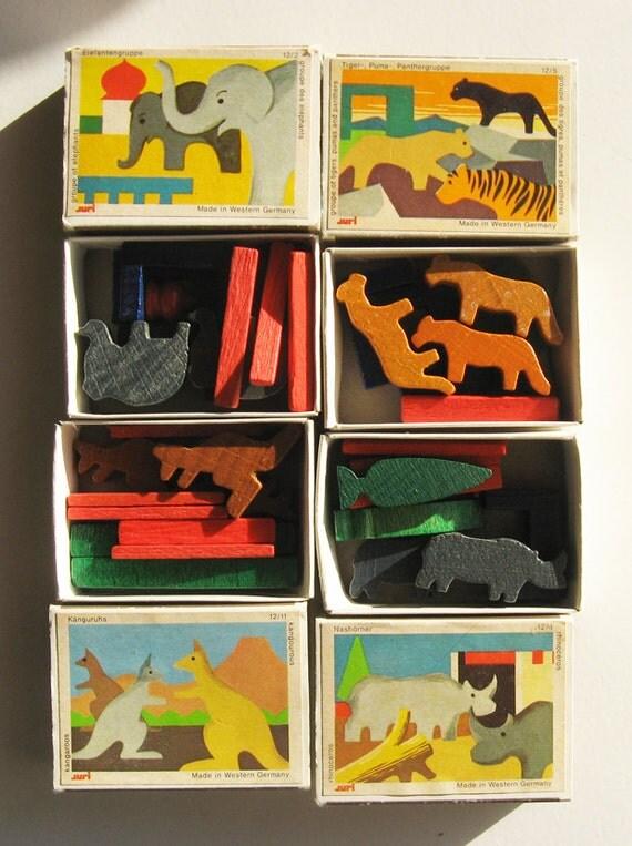 Vintage German Toys Wooden Animal Miniatures