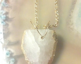ONE OF A KIND  White Geode necklace, Clearance Sale!