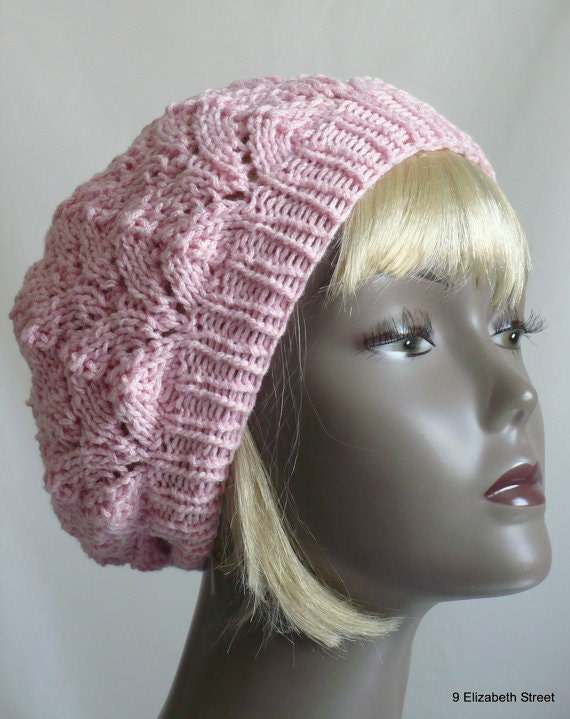 Pink Beret, Hand Knit Tam, Woman's Knit Cloche, Pink Lace Slouchy