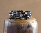 Wrapped Stacking Bracelet Black Gray Silver Beaded Stacked Memory Wire Tigers Eye Agate Glass Bead Fashion Jewelry Jewellery Free Shipping