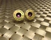 Genuine Bullet Casing Earrings w/ Purple Crystals