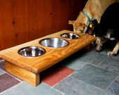 Dog Lover Gift- Personalized 3 Bowl Elevated Pet Feeder with 1 & 2 Quart Stainless Steel Bowls Included EPF-113-3