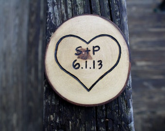 Personalized Heart Magnet- Anniversary Gift- Natural Rustic Wood Tree Branch Magnet Gift- Customize with your names and date