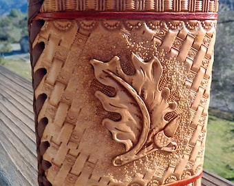 Tooled Leather Covered, 8 oz Flask
