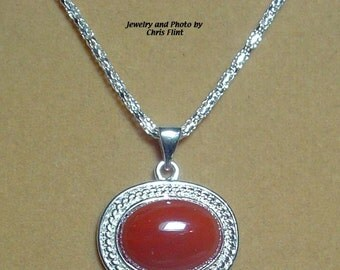 GORGEOUS, glowing red Carnelian Pendant - N201