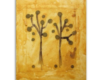 "Original Art, Encaustic Painting, Abstract Expressionism : ""Two Trees"" by Erica Vitalia"