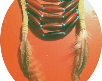 Bone & Feather Breastplate Necklace / Native American Inspired Bib