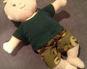 Reversible Boy Shorts in Dino Camo and Khaki for Baby Stella Boy, Waldorf and 13 14 15 16 In Dolls, Doll Clothe