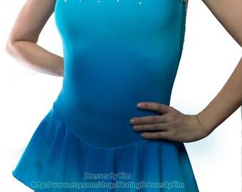 "Custom Figure Skating Dress - ""Ocean"" / Baton Twirling Dress / Dance Dress"