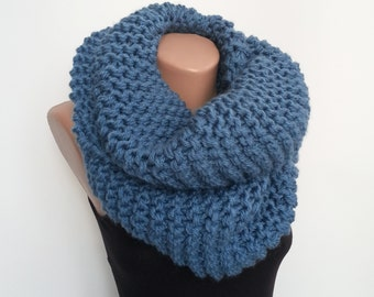 Men Gift Scarf, Blue Gift Scarf, Oversized Hand-Knit, Bulky Scarf Chunky, Loop Chunky Cowl, Loop Scarf Christmas, Knit Gift Snood Scarf Wool