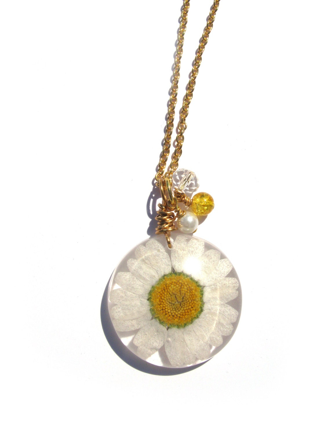 Real Daisy Necklace Pressed Flower Jewelry Resin Necklace