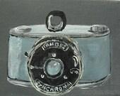 Vintage Camera Wall Art Print from Original Painting - Tahbes Snychrona