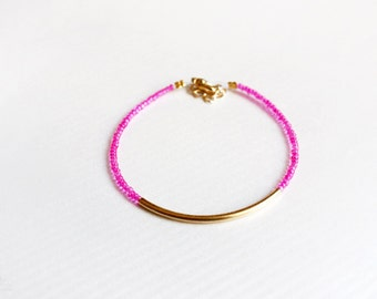 hot pink gold bar bracelet - minimalist jewelry - friendship bracelet