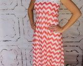 Chevron Maxi Dress in Coral for Teens and Women from GreenStyle