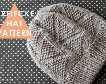 DREIECKE Hat Knitting Pattern Triangles Slouch Textured Geometric PDF