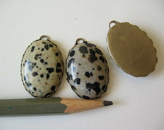 Dalmatian jasper charm pendant cabochon listing is for one