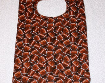 Fathers Day Bib/Clothes Protector - Cotton and Terry Cloth - Brown Football Print  - Unisex