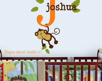 monkey wall decal nursery safari Initial Name Decal  - Monkey Name Wall Decal - Kids Room Decal - Safari Wall Decal - Nursery Monkey Decal